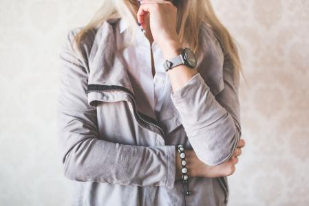 Girl Fashion Pose with Gray Watches and Suede Jacket #2