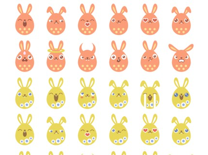 EASTER EGG BUNNY EMOTICONS