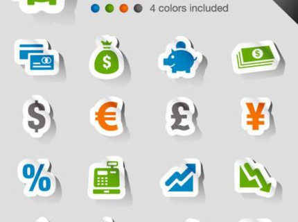 THE BEAUTIFULLY FINANCIAL ICON LABELS – VECTOR